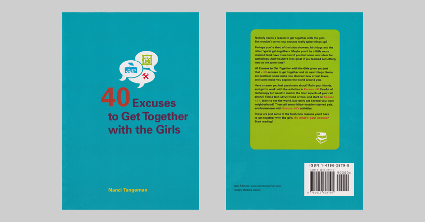 The front and back cover of 40 Excuses to Get Together with the Girls, by Nanci Tangeman
