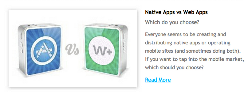 Native Apps vs. Web Apps, SCT Newsletter Article