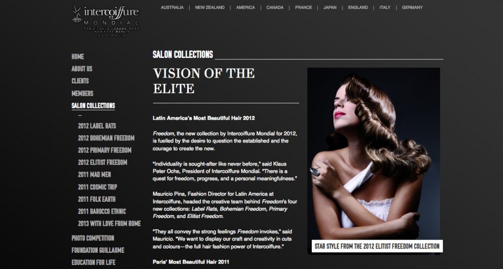 Intercoiffure Australia Salon Collections page