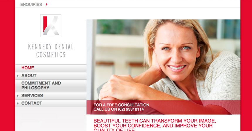 The Homepage from the Kennedy Dental Cosmetics website