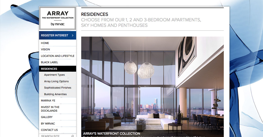 The Residences page on the Array by Mirvac website