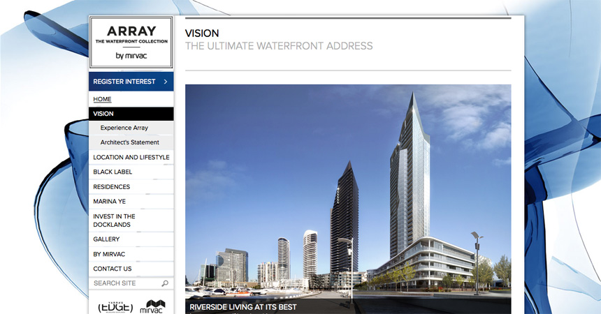 The Vision page on the Array by Mirvac website