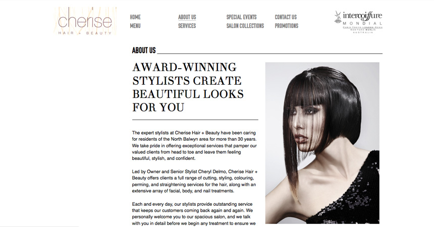 The About page of the Cherise Hair & Beauty website