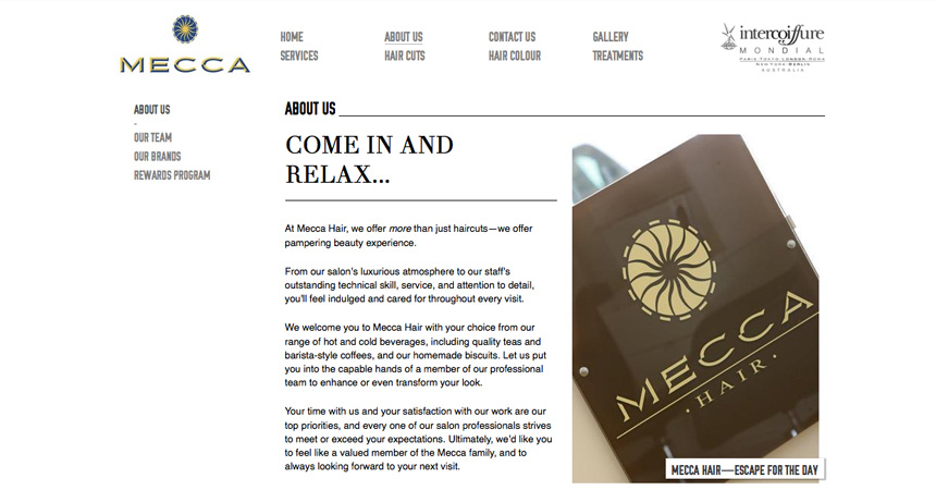 The About page of the Mecca Hair website