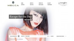 The homepage of the Mecca Hair website