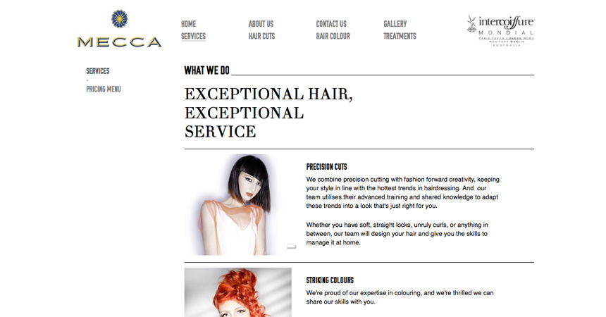 The Services page of the Mecca Hair website