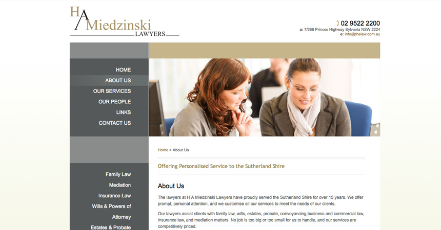 The About page of the H A Miedzinski Lawyers website