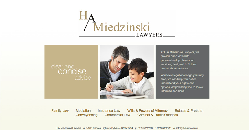 The homepage of the H A Miedzinski Lawyers website
