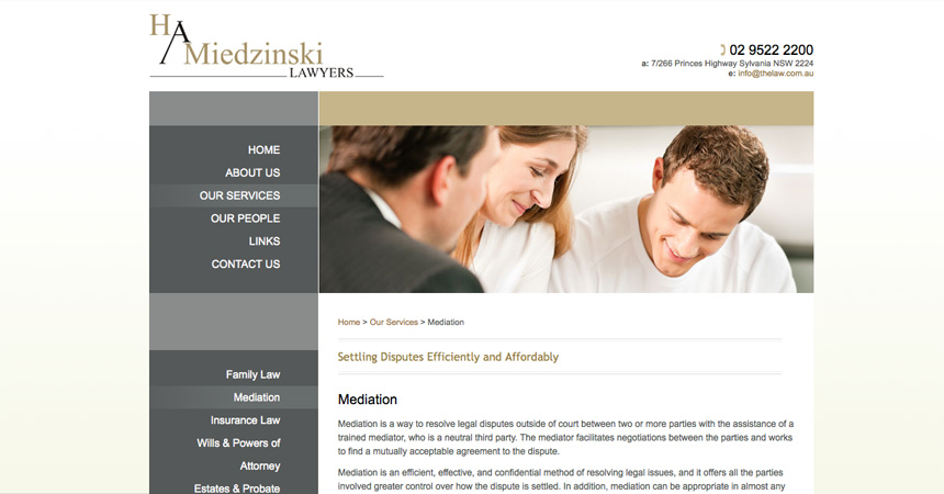 The Mediation page of the H A Miedzinski Lawyers website