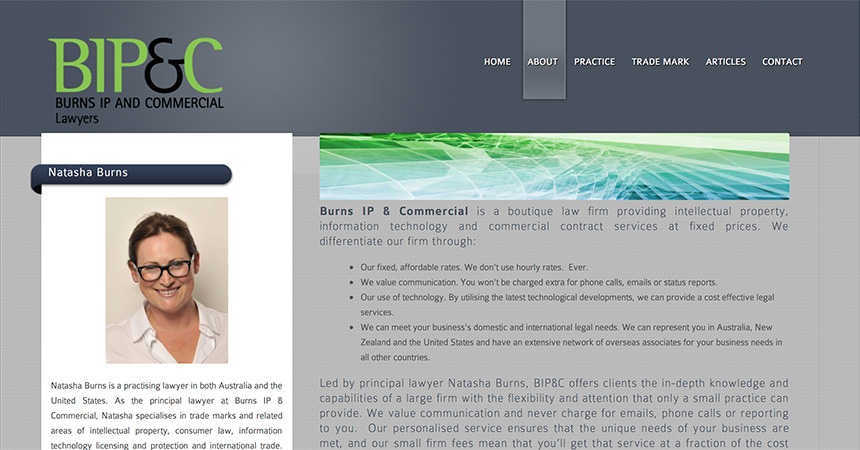 Burns IP & Commercial About webpage