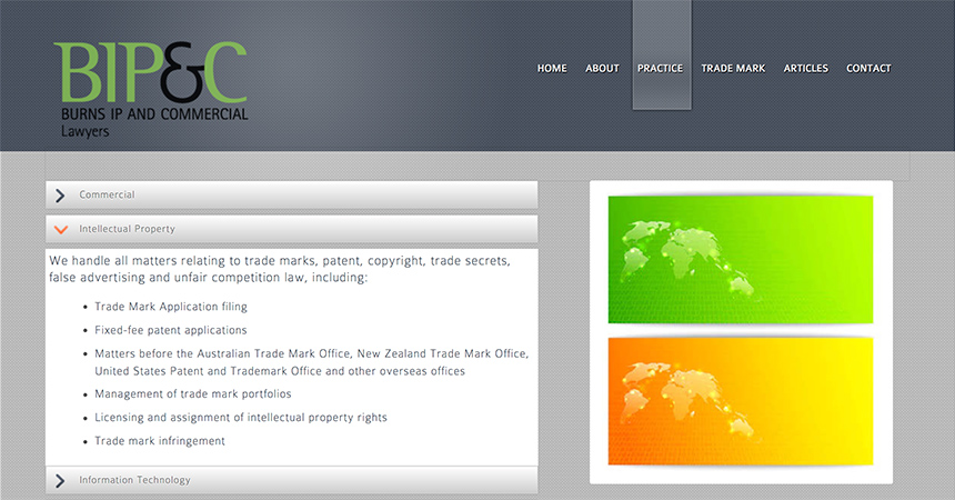 Burns IP & Commercial Practice webpage