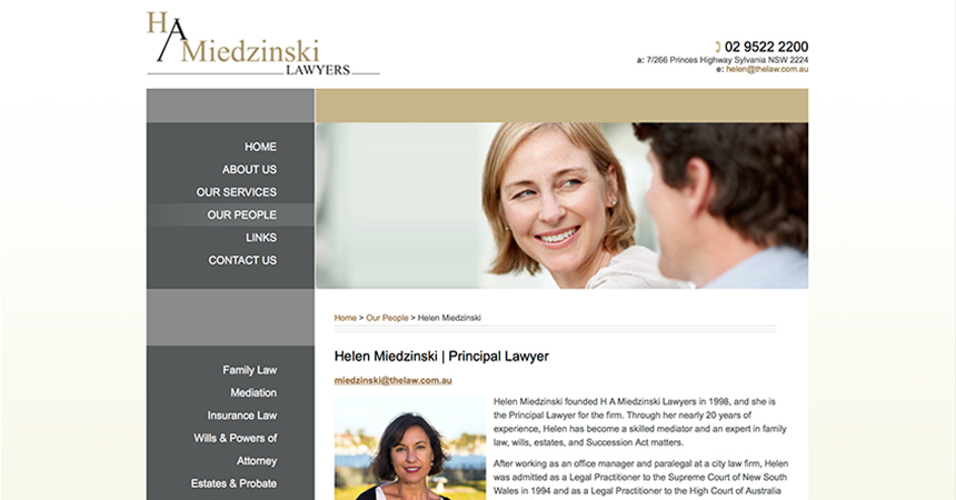 The profile page for Helen Miedzinski on the H A Miedzinski Lawyers website