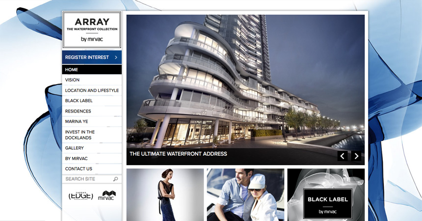 The Homepage for the Array by Mirvac website