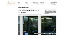 The Homepage of the Cherise Hair & Beauty website